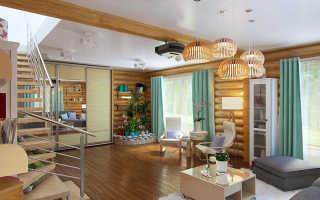 Гостиная в деревянном частном доме: для маленькой и большой